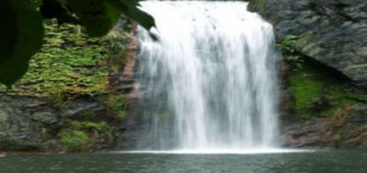 将随身携带的矿泉水瓶灌满万元山的瀑布水带回家